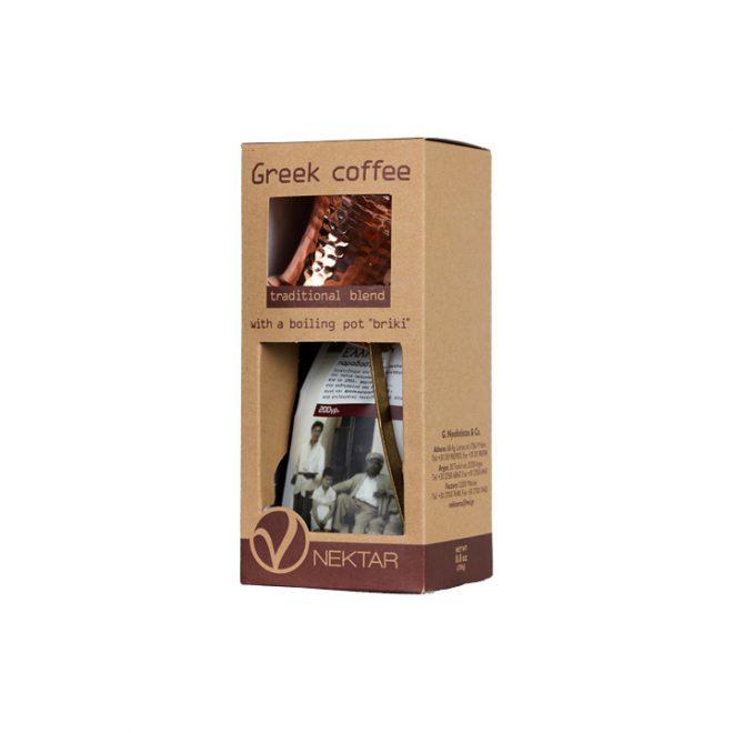 Griekse koffie met briki in geschenkverpakking