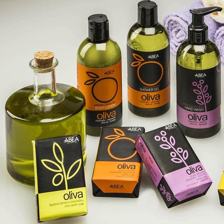 Een greep uit het assortiment cosmetica met Griekse olijfolie van Abea Oliva