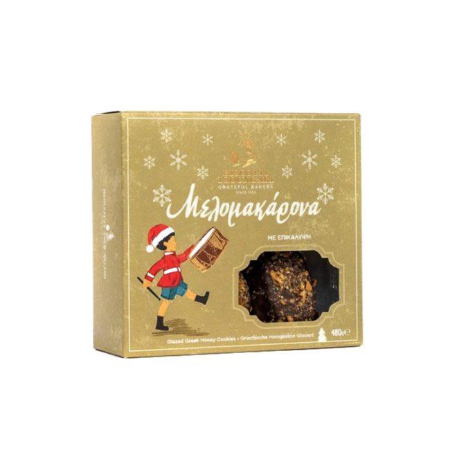 Ambachtelijke melomakarona overgoten met chocolade van Biscotti Tsoungari