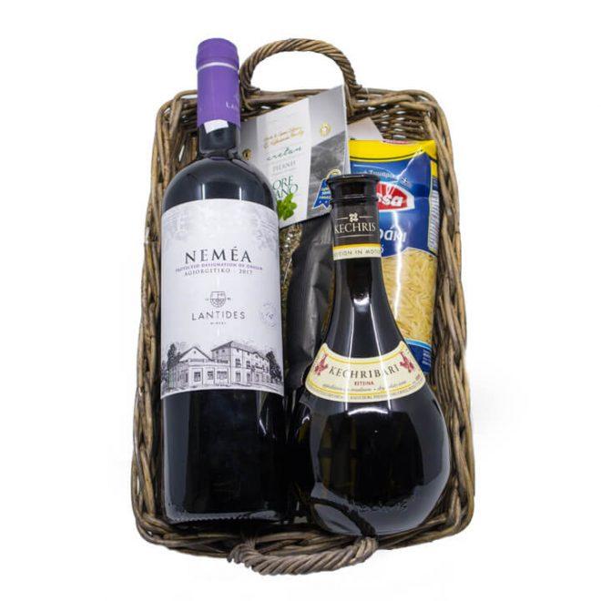 Grieks cadeaupakket Dionysos met wijn, retsina en andere delicatessen