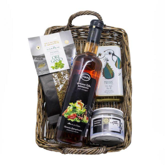 Grieks cadeaupakket met oregano, azijn, olijfolie en zeezout
