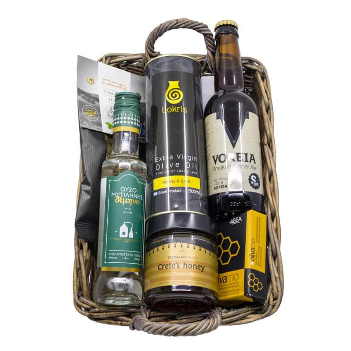 Griekse cadeaupakket Meraki met ouzo, olijfolie, bier en andere Griekse specialiteiten