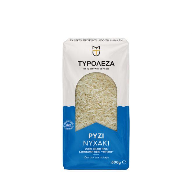 Griekse nihaki rijst voor het maken van pilaf, van Tyroleza