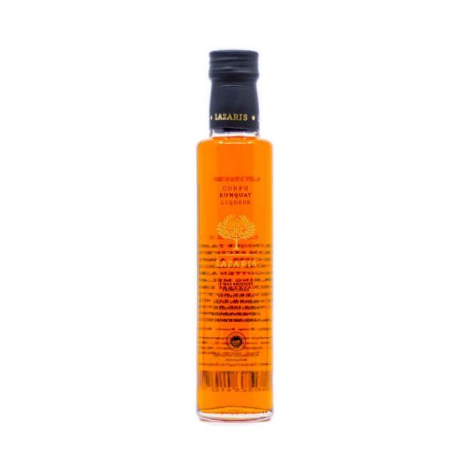 Glazen flesje kumquat likeur uit Corfu van Lazaris met 250 ml inhoud