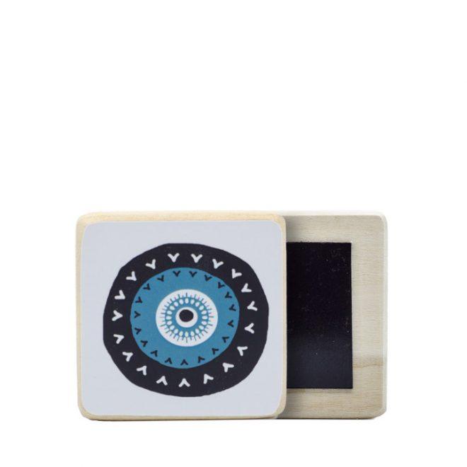 Houten koelkastmagneetje met boze oog print