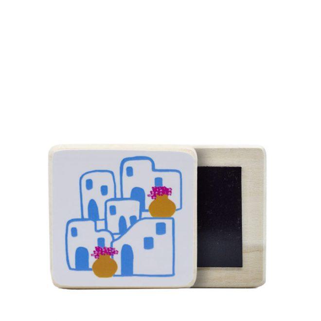 Houten koelkastmagneetje met eilandgevoel print