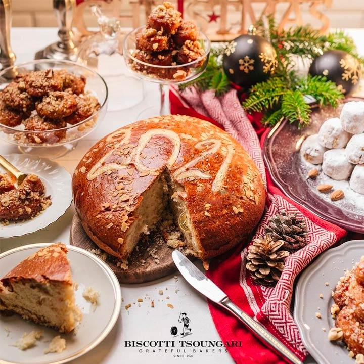 Traditionele Griekse nieuwjaarscake Vasilopita van Biscotti Tsoungari
