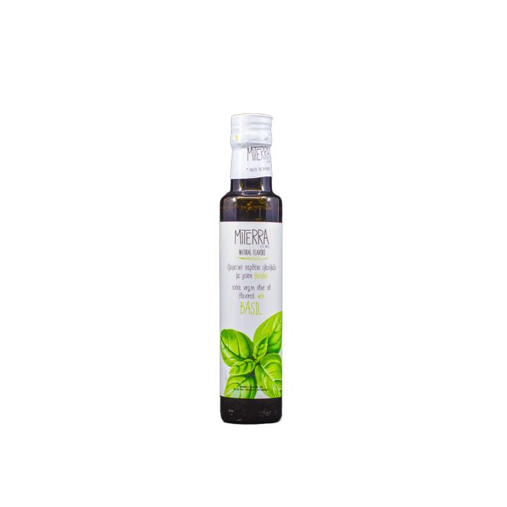 Griekse extra vergine olijfolie met basilicum
