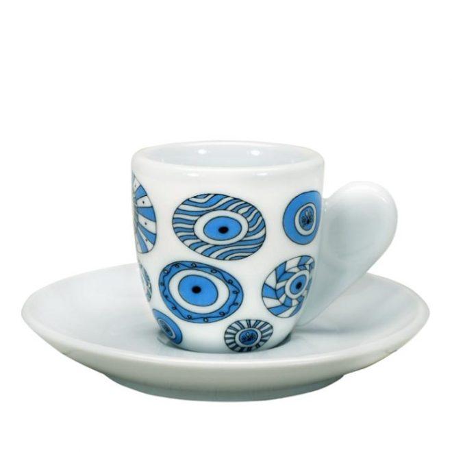 Grieks koffiekopje met schotel met Griekse boze oog van Ploos Design