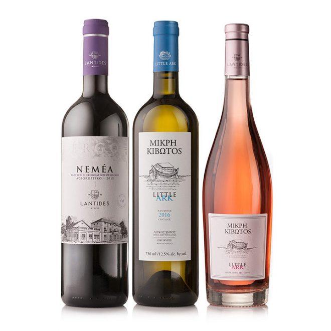 Grieks wijnpakket met 3 topwijnen, rood, wit en rosé
